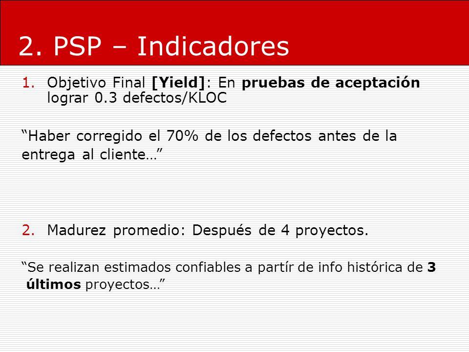 2. PSP – Indicadores Objetivo Final [Yield]: En pruebas de aceptación lograr 0.3 defectos/KLOC. Haber corregido el 70% de los defectos antes de la.